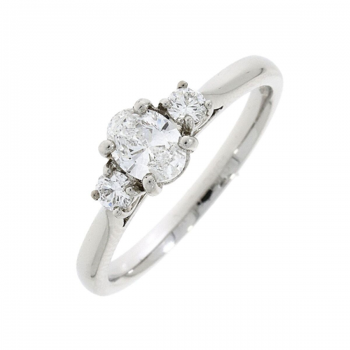 Diamond three stone platinum ring.