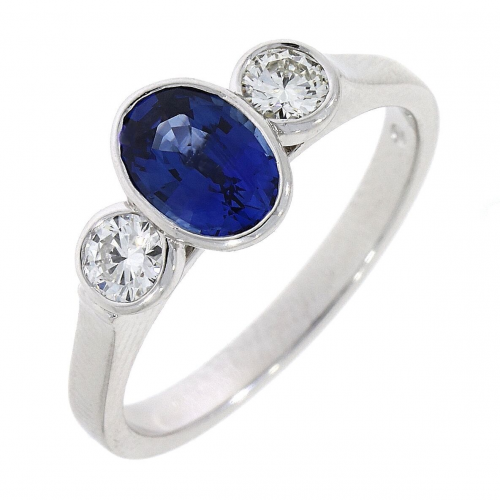 Sapphire and Diamond 18ct white gold ring