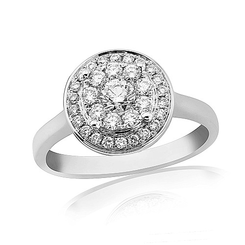Diamond cluster 18ct white gold ring
