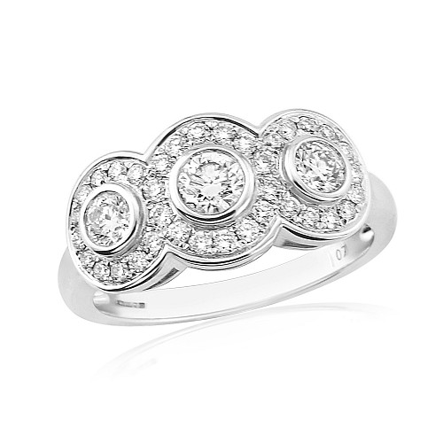 Diamond triple cluster 18ct white gold ring