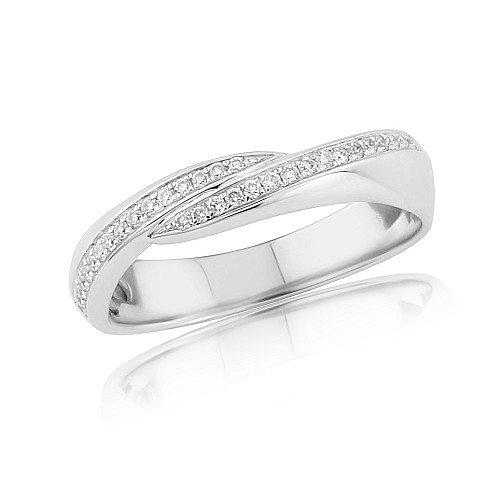 Diamond crossover 18ct white gold ring