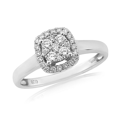 Diamond cushion shaped cluster 18ct white gold ring