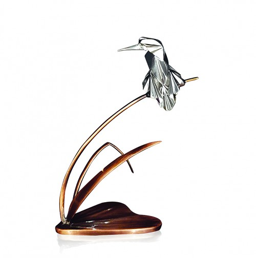 Silver kingfisher on bronze bullrush