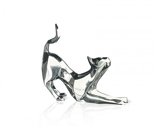 Silver stretching cat