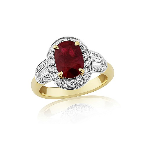 Ruby & Diamond cluster 18ct ring
