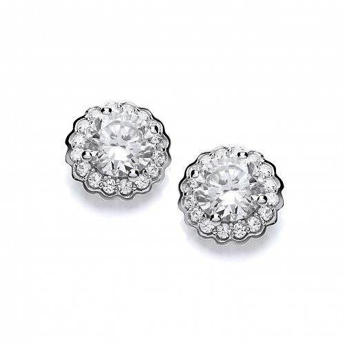 Silver CZ Stud Earrings
