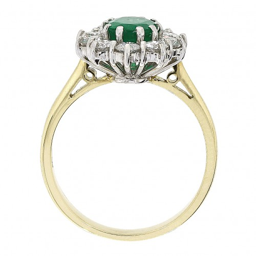 Emerald & Diamond 18ct Cluster ring