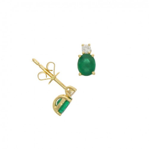 Emerald & Diamond 18ct Gold Earring