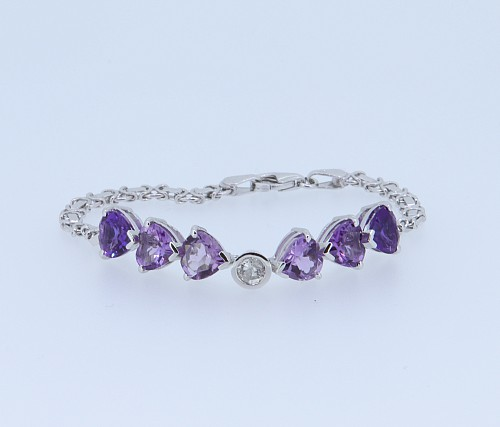 Amethyst & Diamond 9ct bracelet