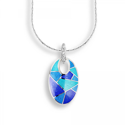 Silver enamelled pendant set with white sapphire