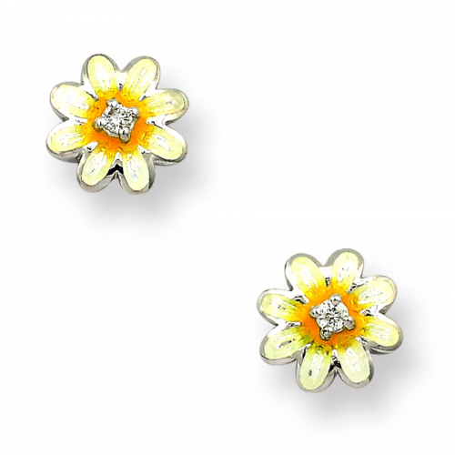 Silver enamelled and diamond daisy earrings