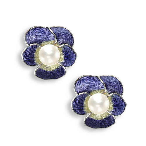 Silver enamel & pearl pansy stud earrings