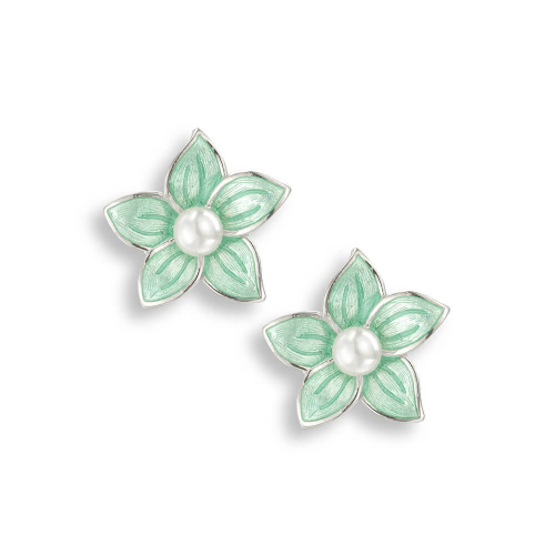 Sterling silver enamelled Stephanotis stud earrings