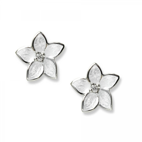Silver enamel and white sapphire Stephanotis stud earrings