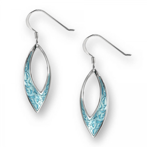 Silver enamelled marquis earrings