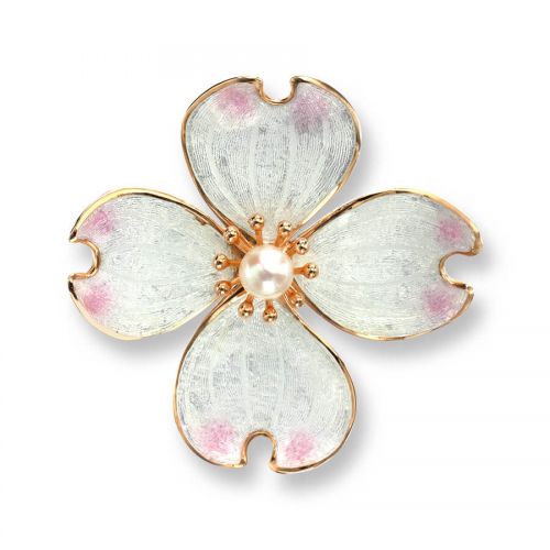 Rose gold plated silver enamelled dogwood brooch / pendant