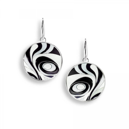 Silver enamelled abstract round earrings