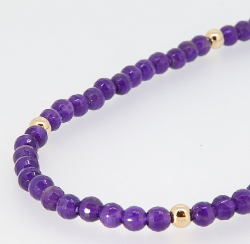 Amethyst & 9ct gold bead necklet