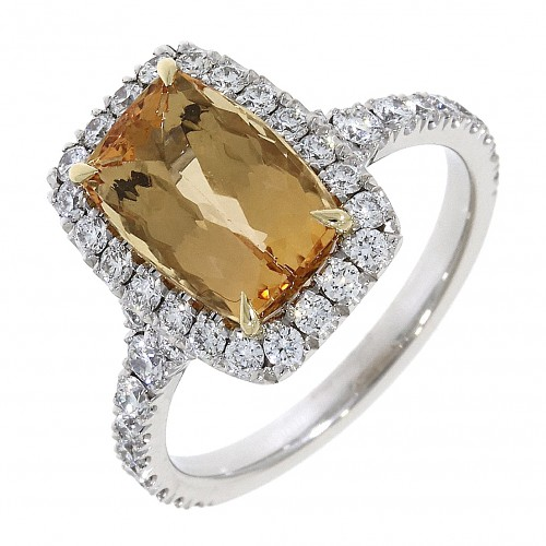 Golden Topaz and diamond cluster ring