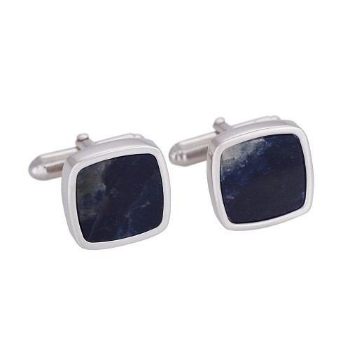 Silver cufflinks with sodalite