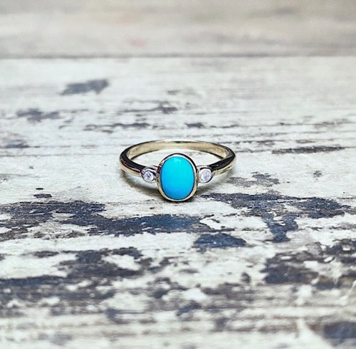 Turquoise & Diamond 9ct Ring